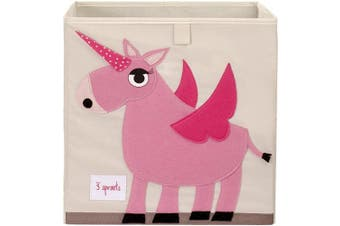 (Unicorn) - 3 Sprouts Cube Storage Box - Organiser Container for Kids & Toddlers