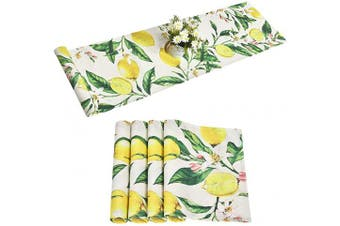 (36cm  x 180cm , Yellow Green) - Alishomtll Lemon Table Runner with 4 Placemats Spring Table Runner Set Yellow and Green Printed Flower Table Mats Set for Summer, Party, Kitchen, 36cm x 180cm