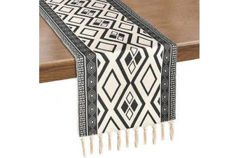 (36cm  x 180cm , Black White) - Alishomtll Black and White Braided Table Runner with Tassels Rustic Boho Table Runners for Summer, Spring Holiday, Catering Events, Dinner Parties, Wedding, Indoor and Outdoor Parties, 36cm x 180cm