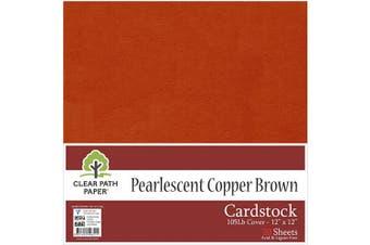 (30cm  x 30cm  - 20 Sheets, Medium Brown) - Pearl Shimmer Metallic Medium Brown Cardstock - 30cm x 30cm - 48kg Cover - 20 Sheets