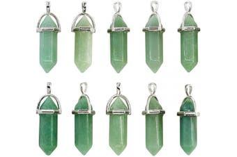 Wholesale 10PCS Genuine Green Aventurine Stone Healing Point Reiki Chakra Pendants Bulk for Jewellery Making
