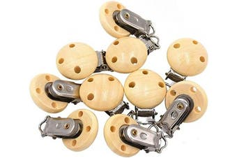 (15 pcs, Wood) - Ocharzy Pacifier Clip Wooden Clip Teething Beads Suspender Clips (Wood, 15 pcs)