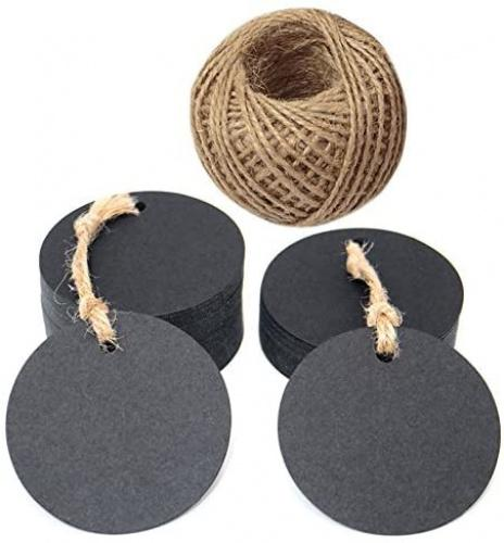 "(Black) - Circle Tags,100 Pcs Blank Kraft Paper Tags and 30m Jute Twine,5.5cm Gift Tags for Craft Projects,Gifts Wrapping,DIY Wedding Favour (Black) Colour: Black Great for wedding wishes tags, parties favour tags, price tags, gift tags etc. DIY your gifts with this round kraft paper labels These tags are sturdy, made from ""kraft"" card and come with jute twine to tie them onto whatever you are labelling. Package: 100PCS Kraft Paper Tags with 30 Metres Jute Twine."