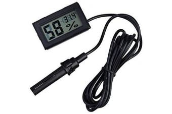 (Black) - ARCELI 2-in-1 Digital LCD Embedded Thermometer Hygrometer with External for Reptile Incubator Aquarium Poultry - Black