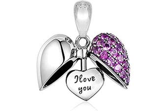 (Purple) - I Love You Heart Charm - Authentic S925 Sterling Silver Pendant Charm with Gift Pouch