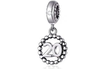 (20) - Number Bracelet Charms, 925 Sterling Silver Pendants/Beads Fit Pandora Charm Bracelets, Necklace, European Snake Chain,16/18/21/25/30/40/50/60 Dangling Charm for Birthday and Anniversary Gifts