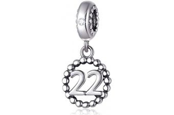 (22) - Number Bracelet Charms, 925 Sterling Silver Pendants/Beads Fit Pandora Charm Bracelets, Necklace, European Snake Chain,16/18/21/25/30/40/50/60 Dangling Charm for Birthday and Anniversary Gifts