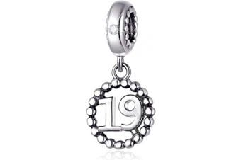 (19) - Number Bracelet Charms, 925 Sterling Silver Pendants/Beads Fit Pandora Charm Bracelets, Necklace, European Snake Chain,16/18/21/25/30/40/50/60 Dangling Charm for Birthday and Anniversary Gifts