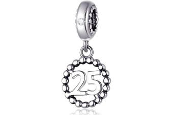 (25) - Number Bracelet Charms, 925 Sterling Silver Pendants/Beads Fit Pandora Charm Bracelets, Necklace, European Snake Chain,16/18/21/25/30/40/50/60 Dangling Charm for Birthday and Anniversary Gifts