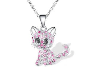 (Pink(daughter Loved)) - Cheerslife Kitty Cat Pendant Necklace Jewellery for Women Girls Kids, Cat Lover Gifts Daughter Loved Necklace 18+6.1cm Chain