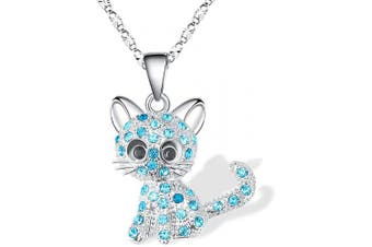 (Blue(lovely)) - Cheerslife Kitty Cat Pendant Necklace Jewellery for Women Girls Kids, Cat Lover Gifts Daughter Loved Necklace 18+6.1cm Chain