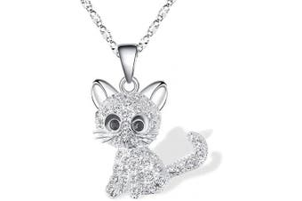 (Sliver(hot)) - Cheerslife Kitty Cat Pendant Necklace Jewellery for Women Girls Kids, Cat Lover Gifts Daughter Loved Necklace 18+6.1cm Chain