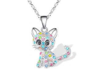 (Color(special for You)) - Cheerslife Kitty Cat Pendant Necklace Jewellery for Women Girls Kids, Cat Lover Gifts Daughter Loved Necklace 18+6.1cm Chain