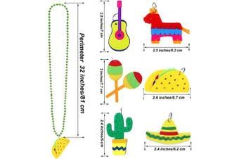 Aneco 12 Pieces Cinco de Mayo Necklaces Bead 6 Designs Mexican Necklaces Bead for Mexican Birthday Party Favours Supplies Decorations