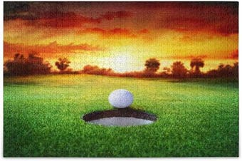 (Large) - ALAZA Sport Golf Ball Sunset Grass Jigsaw Puzzle Leisure Creative Games 1000 Pieces for Adults Children Gift