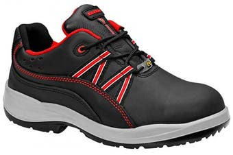 (40) - Elten Linda Red Low ESD S3 - Durable Women's Safety Shoe with Red Appliqué Cowhide Steel Toe Cap Steel Midsole, 40, Black