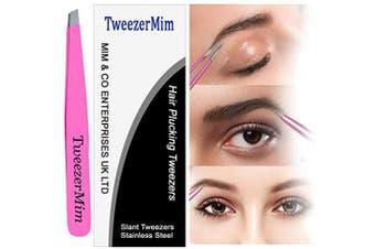 (Pack of 1 Tweezer, Pink) - TweezerMiM Stainless Steel Tweezers - Professional Eyebrow Tweezers Slant Tip | Precision Hair Tweezers, Stainless Steel | Best for Plucking Chin Facial Hair, . Pink)
