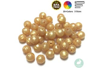 (12MM 100 Pieces, 25 GOLD) - Silicone Beads for Teething | 12mm 100pc Jewellery Making Beads | Food Grade BPA Free Chewable Beads for Teethers, Nursing Necklaces, Bracelets (12mm, 25 Gold)