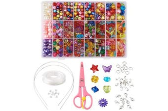 (Beads Set#1) - Beadthoven 24 Types Beads Kits Acrylic Bead Set Jewellery Beading Accessories for Kids Girls Colourful Jewellery Crafting Set Christmas Gift