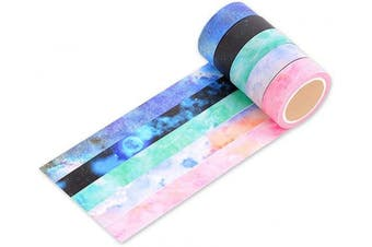 (Galaxy) - Ace Select 5 Rolls Christmas Gift Wrapping Tape Colourful Galaxy Starry Sky Washi Tapes Set Creative Scrapbooking Craft Masking Tape for Wrapping and Arts Crafts 8M