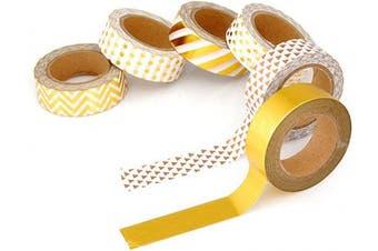 (c set) - Ace Select 10 Metre Adhesive Creative Repositionable Scrapbooking Craft Stripes Dots DIY Japanese Masking Tapes Decorative Sticky Washi Tape Collection Set - Metallic Gold 6 Pcs