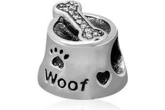 (Dog Food Bowl Charm) - Animal Charm Beads 925 Sterling Silver Charm for Bracelets Christmas Gifts for Family Birthday (Dog Food Bowl Charm)