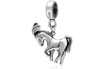 (The Horse Charm) - Animal Charm Beads 925 Sterling Silver Charm for Bracelets Christmas Gifts for Family Birthday (The Horse Charm)