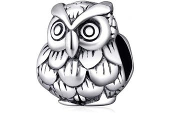 (Owl Charm) - Animal Charm Beads 925 Sterling Silver Charm for Bracelets Christmas Gifts for Family Birthday (Owl Charm)