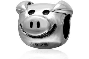 (Pig Charm) - Animal Charm Beads 925 Sterling Silver Charm for Bracelets Christmas Gifts for Family Birthday (Pig Charm)