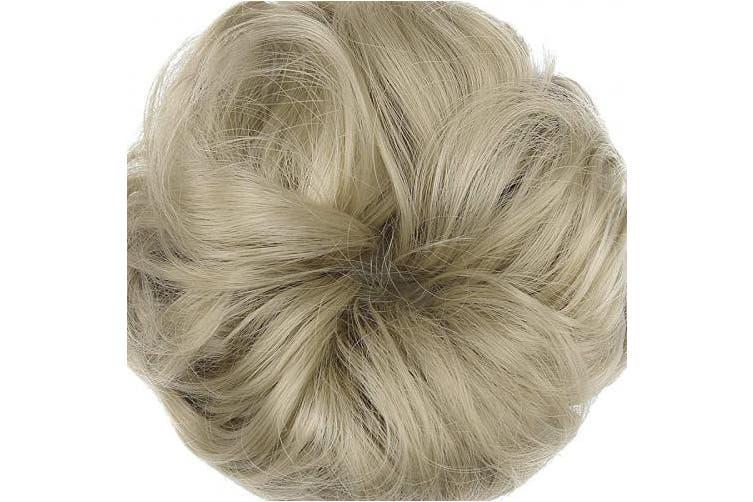 (2PCS, Ash Blonde) - Messy Bun Hair Piece Thick Updo Scrunchies Hair Extensions Ponytail Hair Accessories Ash Blonde