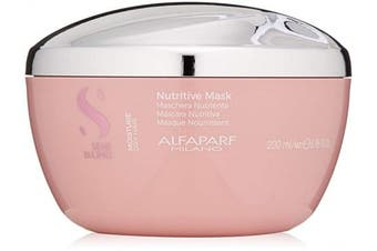 Alfaparf Milano Semi Di Lino Moisture Nutritive Mask for Dry Hair - Safe on Colour Treated Hair - Sulphate, Paraben and Paraffin Free - Professional Salon Quality, 200ml