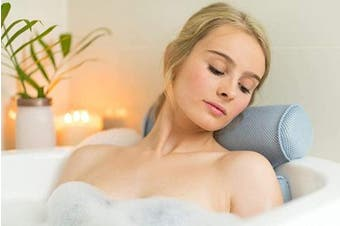 Luxurious Premium Support Head, Neck, Shoulder, Back Spa Bath Pillow 3D Breathable 6 Suction Cups (Blue)