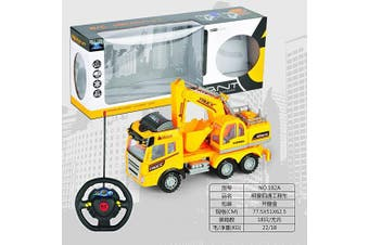 (Truck W/Tractor on Flatbed) - Big Daddy Series Remote control Construction Truck With Friction Lever Functional Tractor on Flat Bad