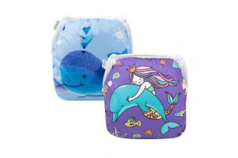 (one size( 0-2 Year), Whales) - babygoal Baby Reusable Swim Nappy, Washable and Adjustable for Babies 0-2 Years, Swimming Lessons 2FSWD2931