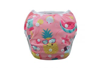 (one size( 0-2 Year), Pineapple) - Babygoal Baby Swim Underwear for Swim Lesson, Reuseable Washable Adjustable Swiming Nappies,Baby Girl swim Nappy,Best Gift for BabySWD39