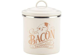 (French Vanilla White) - Ayesha Curry 47417 Enamel on Steel Bacon Grease Can / Bacon Grease Container - 10cm , White
