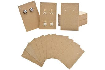 (Kraft) - Earrings and Necklace Display Cards, 100 Pieces Earring Card Holder Display Cards Blank Kraft Paper Tags for Ear Studs, Earrings, Necklaces - Kraft Colour, 8.9cm x 6.1cm