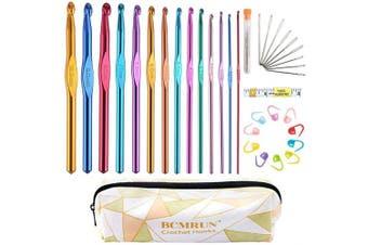 BCMRUN Crochet Hooks Set 14 Sizes 2mm(B) -10mm(N) Aluminium Ergonomic Knitting Needles Kit with Case Weave Yarn Craft Set, Crochet Hook Knit Needle, Best Gift for Women Girls