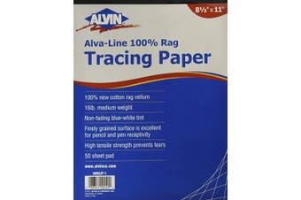 Alvin, Alva-Line, 6855/P-1, 100 % Rag Vellum, Medium Weight, 7.3kg Tracing Paper - 50-Sheet, 22cm x 28cm