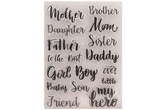 Mother's Day Father Friend My Hero Words Phrase Cards Rubber Clear Stamp for Card Making Clear Stamp