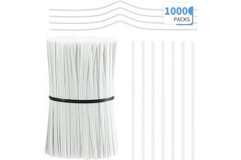 (White) - 1000 Pieces Plastic Coated Twist Ties Twist Cord Wire Cable Ties Reusable Nose Bridge Strips for Party Cello Candy Bread Bags Cake Pops, 9.9cm Length (White)