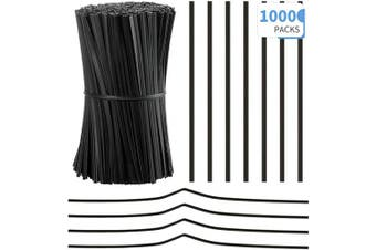 (Black) - 1000 Pieces Plastic Coated Twist Ties Twist Cord Wire Cable Ties Reusable Nose Bridge Strips for Party Cello Candy Bread Bags Cake Pops, 9.9cm Length (Black)