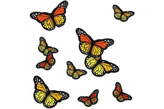 10pcs Monarch Butterfly Iron on Patches, 2 Size Embroidered Sew Applique Repair Patch