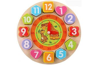 Afufu Wooden Shape Colour Sorting Clock, Teaching Time Shape Matching Game, Montessori Number Blocks Puzzle Early Learning Educational Toy for Toddlers Baby Kids Boys Girls 3 4 5 Years Old