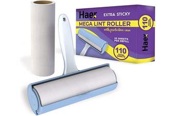 (Mega Roller) - Haer Giant Lint Roller Extra Sticky for Pet Hair, Large Jumbo Sized - 110 Total Sheets