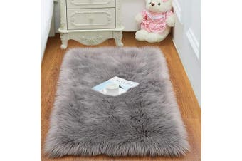 (0.6m x 0.9m, Gray) - Super Soft Fluffy Bedroom Rug - Fuzzy Faux Fur Area Rugs for Living Room - 0.6m x 0.9m Washable Home Floor Decor Small Carpet, Grey
