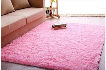 ACTCUT Super Soft Indoor Modern Shag Area Silky Smooth Rugs Fluffy Anti-Skid Shaggy Area Rug Dining Living Room Carpet Comfy Bedroom Floor (1.6m x 2.2m, Pink)