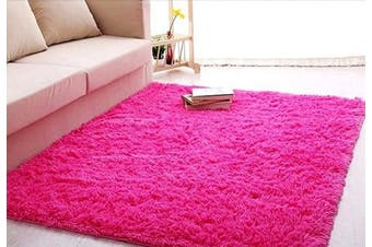 ACTCUT Super Soft Indoor Modern Shag Area Silky Smooth Rugs Fluffy Anti-Skid Shaggy Area Rug Dining Living Room Carpet Comfy Bedroom Floor (1.6m x 2.2m, Hot Pink)