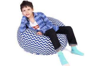 (Large, Chevron Blue) - Lukeight Stuffed Animal Storage Bean Bag Chair, Bean Bag Cover for Organising Kid's Room - Fits a Lot of Stuffed Animals, Large/Chevron Blue