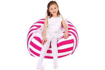 (X-Large, Stripe White Carmine) - Lukeight Stuffed Animal Storage Bean Bag Chair, Bean Bag Cover for Organising Kid's Room - Fits a Lot of Stuffed Animals, X-Large/Carmine Stripe